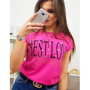 Neónovo ružové dámske tričko s módnym nadpisom BEST LOVE