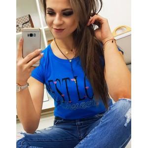 Štýlové dámske azúrovo modré tričko s trendy nadpisom