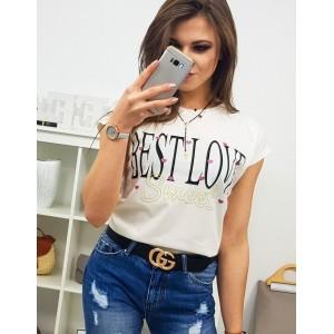 Trendy dámske smotanovo biele tričko s nápisom BEST LOVE