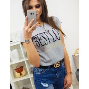 Originálne dámske tričko v sivej farbe s módnym nápisom BEST LOVE
