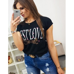 Čierne street dámske tričko s trendy potlačou BEST LOVE
