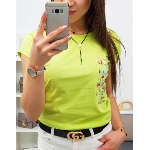 Výrazné limetkovo žlté dámske tričko s krátkym rukávom a trendy nápisom
