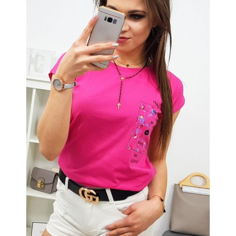f95229463e76 Neónovo ružové dámske tričko s originálnym popisom