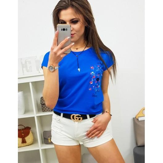 Výrazné dámske modré tričko s krátkym rukávom a potlačou