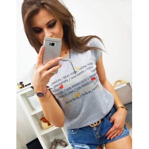 Sivé dámske tričko na voľný deň s potlačou nápisov miest