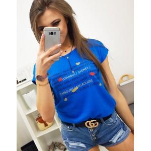 Kráľovsky modré trendy dámske tričko s potlačou miest a srdiečok