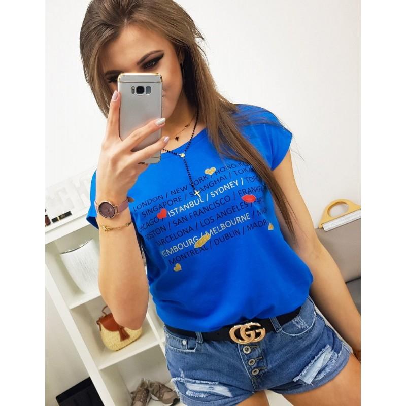 bf98df9a84e1 Kráľovsky modré trendy dámske tričko s potlačou miest a srdiečok