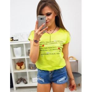 Neónovo žlté dámske tričko s potlačou nápisov hlavných miest