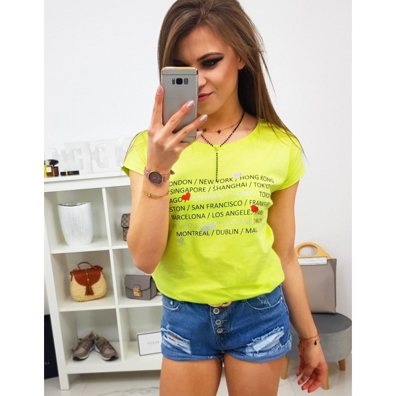 fa498daf7341 Neónovo žlté dámske tričko s potlačou nápisov hlavných miest
