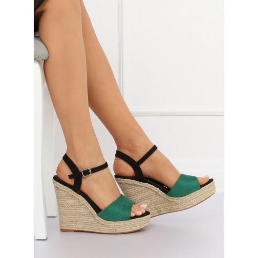 Zeleno čierne letné dámske sandále na vysokom opätku