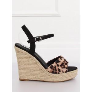 Dámske leopardie sandále na vysokej platforme
