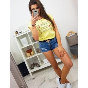 Letné dámske svetlo žlté tričko s krátkym rukávom a potlačou