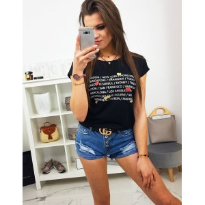 Štýlové dámske čierne tričko s trendy nápismi hlavných miest