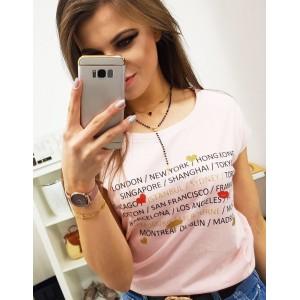 Púdrovo ružové dámske bavlnené tričko s krátkym rukávom a potlačou