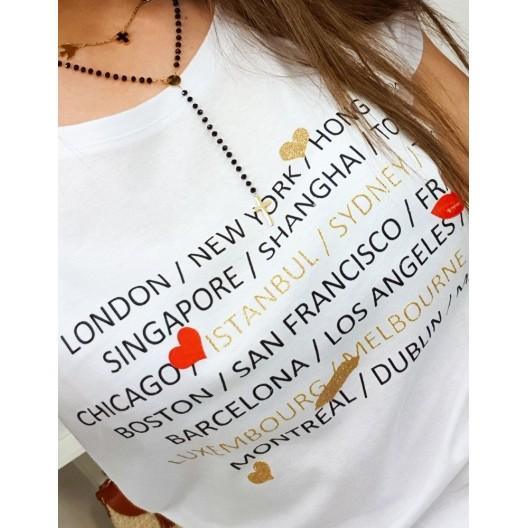 Originálne dámske biele tričko s krátkym rukávom a nadpismi