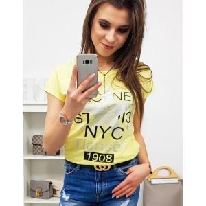 Originálne dámske žlté tričko s potlačkou a nápisom v žltej farbe