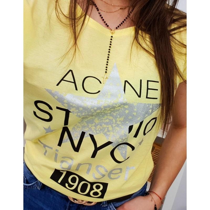 6937484089d3 Originálne dámske žlté tričko s potlačkou a nápisom v žltej farbe