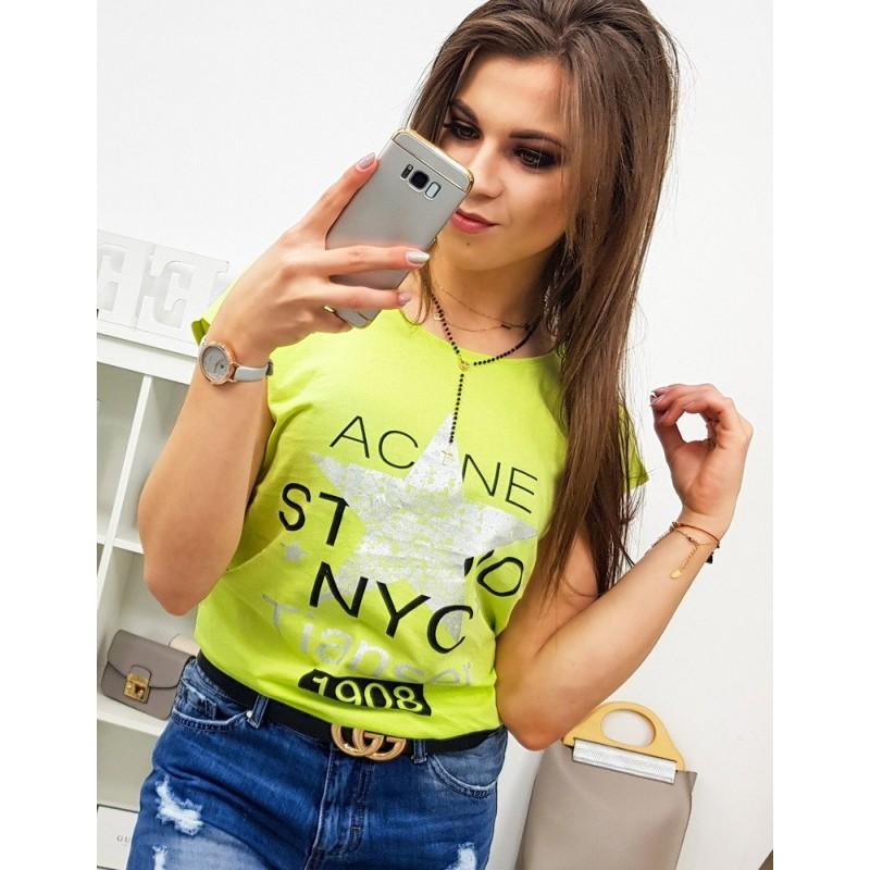 928aeff7de0b Neónovo žlté dámske tričko s krátkym rukávom s potlačou hviezdy