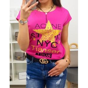 Neónovo ružové dámske tričko s krátkym rukávom na voľný deň