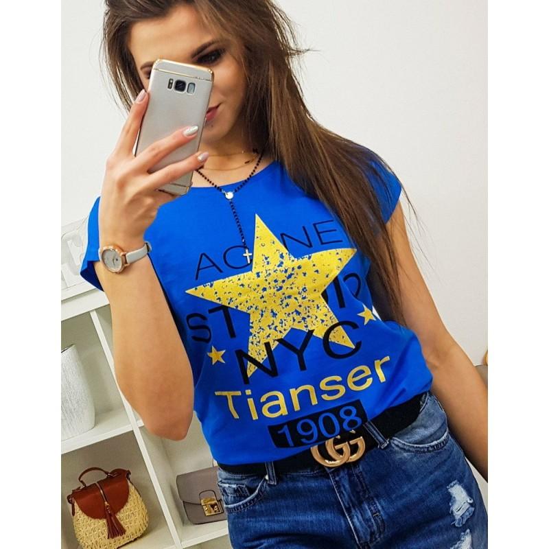17465858af32 Krásne modré dámske tričko s potlačou žltej hviezdy a nápisov