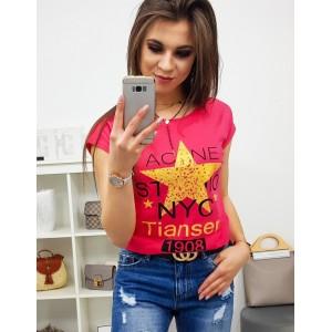 Moderné dámske tričko krásnej malinovej farby s potlačou žltej hviezdy