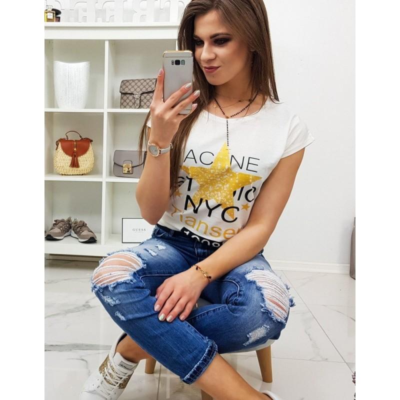 e14a9b51171e Smotanovo biele dámske tričko s krátkym rukávom a potlačou hviezdy