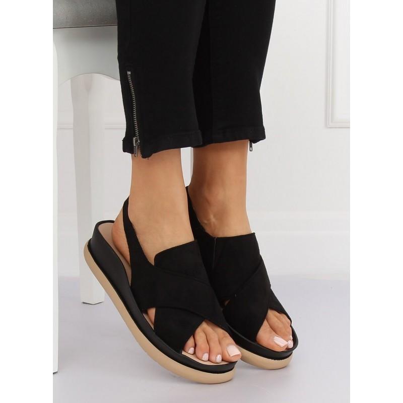 77f852de6466 Letné pohodlné remienkové sandále čiernej farby