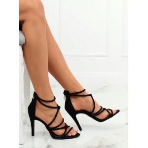 Čierne dámske semišové sandále na vysokom podpätku