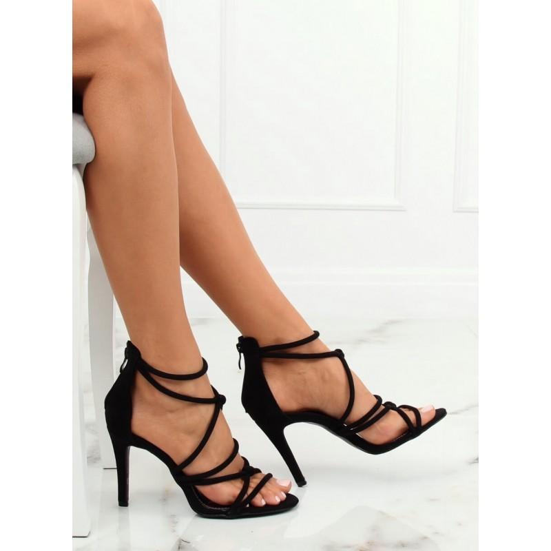 8c639bf9e7ae Čierne dámske semišové sandále na vysokom podpätku
