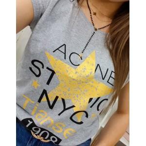 Sivé dámske tričko s krátkym rukávom a trendy žltou hviezdou