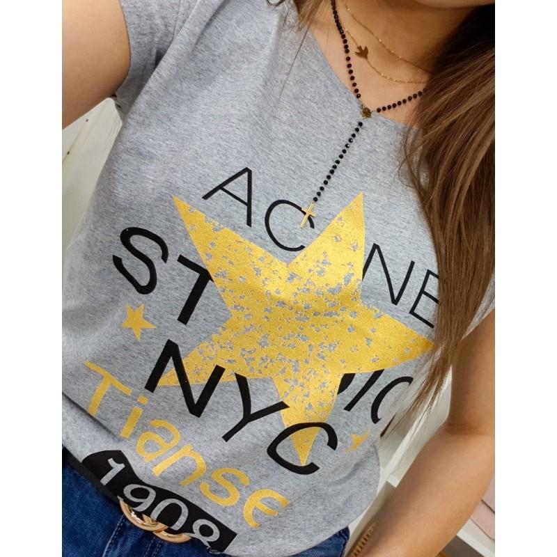 9249fb469cf7b Sivé dámske tričko s krátkym rukávom a trendy žltou hviezdou