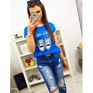 Originálne dámske modré tričko s krátkym rukávom a top potlačou