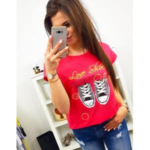 Street dámske tričko v krásnej malinovej farbe s potlačou tenisiek