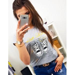 Sivé dámske tričko s krátkym rukávom a trendy nápisom LOVE SHOES