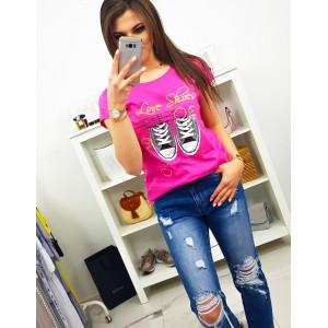 Krásne fuchsiovo ružové neónové dámske tričko s potlačou tenisiek
