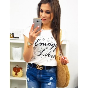 3fa714e4bc0d Trendy bielo čierne dámske tričko s krátkym rukávom EMOGY LIKES
