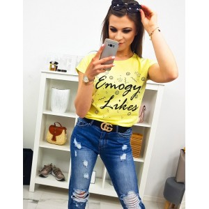 Moderné dámske žlté tričko so smajlíkmi a nápisom EMOGY LIKES