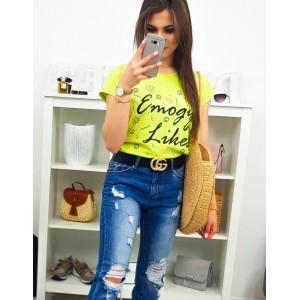 Štýlové dámske tričko v módnej neóno žltej farbe s nápisom a smajlíkmi