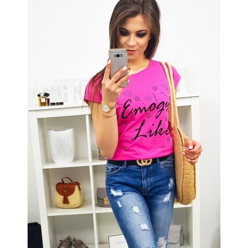 08316ebed5a9 Dámske tričko v neónovo ružovej farbe s módnym nápisom EMOGY LIKES