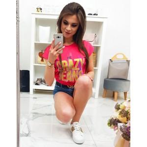 Krásne červeno malinové dámske tričko s trendy nápisom CRAZY JEANS