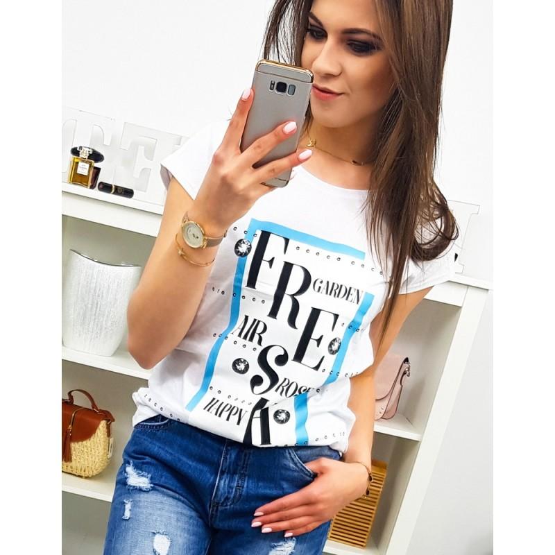935de6eb7f61 Pohodlné dámske biele bavlnené tričko s potlačou FRESH