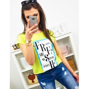 Krásne letné tričko v limetkovo žltej farbe s trendy nápisom FRESH