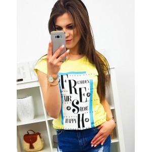Citrónovo žlté dámske tričko s krátkym rukávom a potlačou FRESH