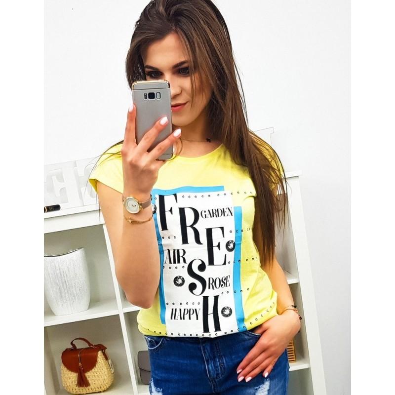 1869f096a64c Citrónovo žlté dámske tričko s krátkym rukávom a potlačou FRESH
