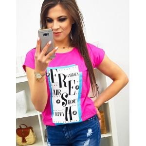 Neónovéo rúžové dámske tričko na voľný deň s potlačou FRESH