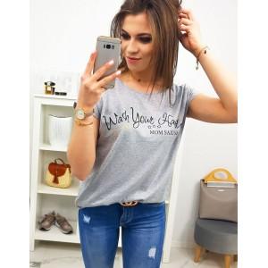 Štýlové dámske sivé tričko s originálnym nápisom