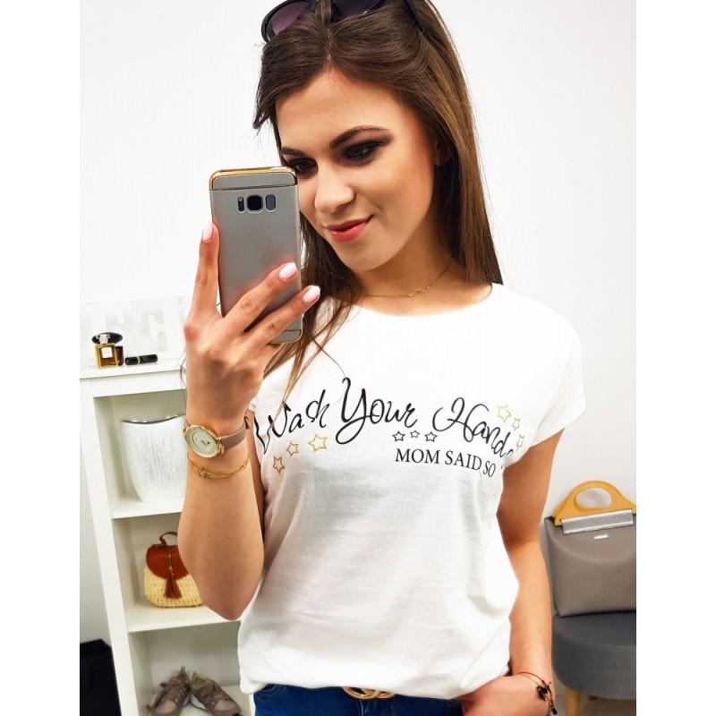 70b408979e9c Smotanovo biele dámske bavlnené tričko s trendy potlačou MOM SAID SO