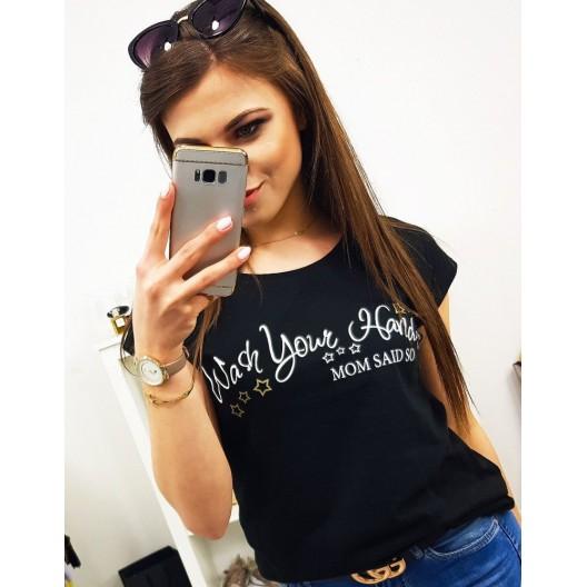 Originálne čierne dámske tričko s bielym nápisom MOM SAID SO