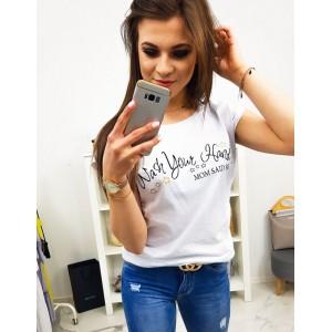 Trendy dámske biele tričko s čiernym nápisom MOM SAID SO
