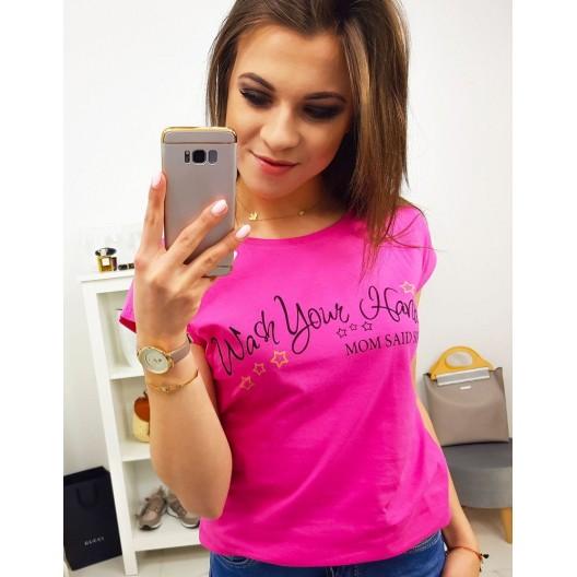 Krásne cyklamenovo rúžové dámske tričko s originálnym textom